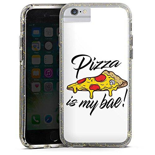 Apple iPhone 6 Plus Bumper Hülle Bumper Case Glitzer Hülle Pizza Is My Bae Spruch Pizza Statement Bumper Case Glitzer gold