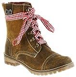 Bergheimer Trachtenschuhe Stiefel Braun Leder Stiefelette Damen Schuhe Tauplitz, Farbe:Braun, Größe:40