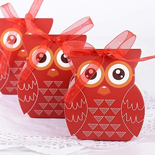 Jnch 50pz scatoline portaconfetti bomboniere carta con nastro scatole per regalo invitati a nozze matrimonio compleanno laurea magistrale comunione cerimonia fai da te decorozione gufo rosso