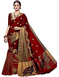 Saree For Woman Dharmi Enterprise Red And Gold Cotton Silk With Blouse Piece Women's Saree (Amazon Today Offer...