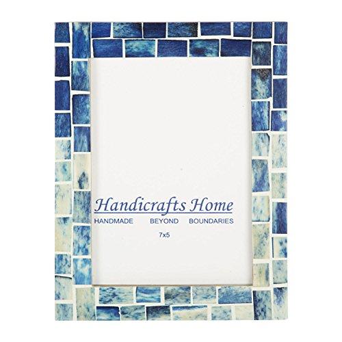 Handicrafts Home Indigo Mosaic Photo Frame Bone Handmade Picture Frames Size 5x7