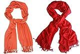 #3: Nikita Crepe Orange & Red Colour Scarf For Women's