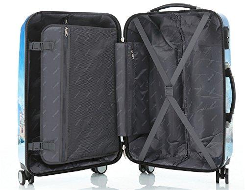 Polycarbonat Hartschale Koffer 2060 Trolley Reisekoffer Reisekofferset Beutycase 3er oder 4er Set in 7 Motiven (Flug(3er Set)) - 8