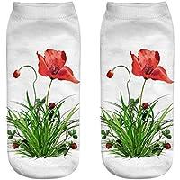 OHlive Suave Mujeres Poppy Flower 3D Impreso Zapatillas de Deporte Calcetines Tobillo Calcetines (1 par-YSH02-One Size) (Color : YSH02, tamaño : Talla única)