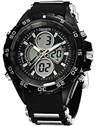 OHSEN Reloj De Hombre Mujer De Deportivo De Moda Impermeable Multifunción Cronómetro Analógico Con Doble LED - Negro