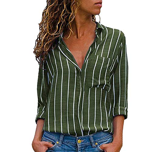 iHENGH Damen Sommer Bequem Lässig Mode Frauen Casual Langarm Stripe Button T Shirts Tops Bluse
