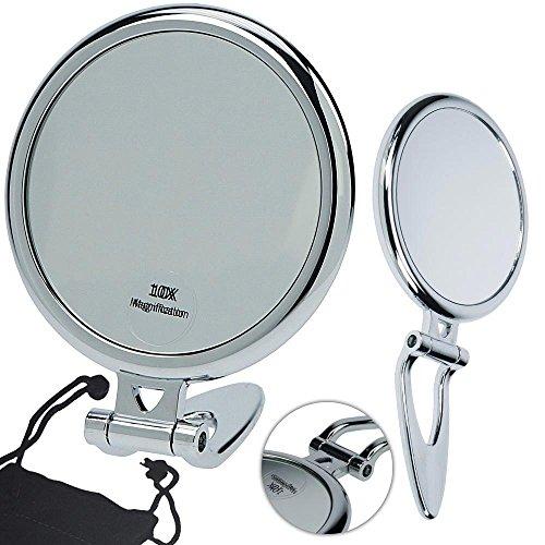Kosmetex Reise Stand- und Handspiegel mit 10-fach- Vergrößerung, Kunststoff, 2 Spiegelflächen, Kosmetik-Spiegel
