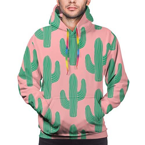 atopking Kaktus in grün auf rosa Hintergrund Mens Casual Langarm Pullover Jacke Hoodie Sweatshirt L
