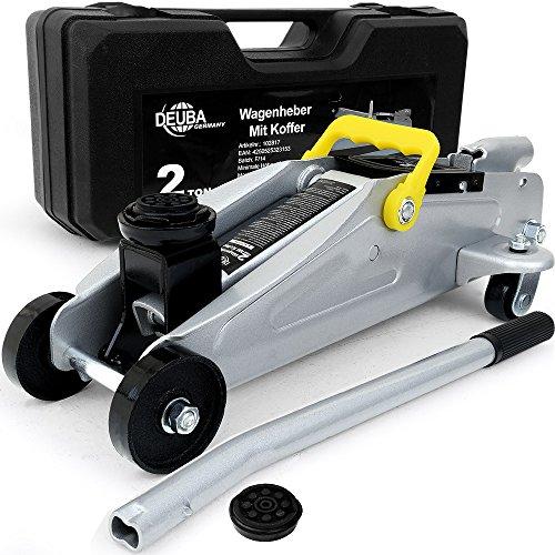 Deubau00ae Hydraulischer Wagenheber Rangierwagenheber | 2 Tonnen | + Koffer | Roll- und Lenkbar | inkl. Gummiauflage - Modellwahl