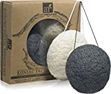 Arte Naturals konjac esponja facial – Juego de 2 (color gris y negro Natural Color Blanco) 100% natural