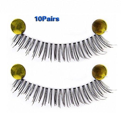 SODIAL(R) 10 paires tiges transparentes maquillage epais faux cils 002