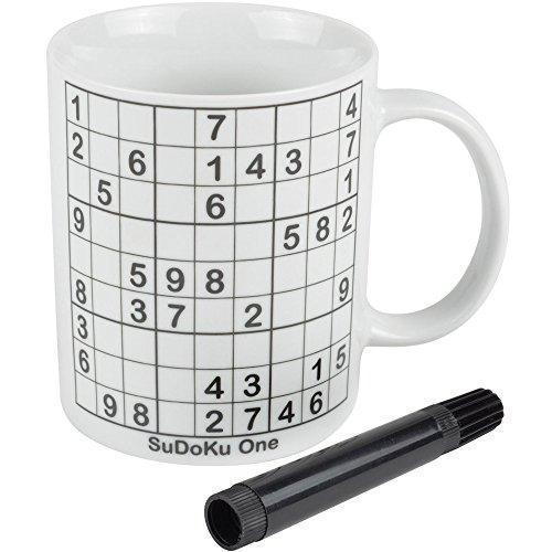 Mug Sudoku Blanc Porcelaine Avec feutre noir effaçable La chaise longue 35-2K-038