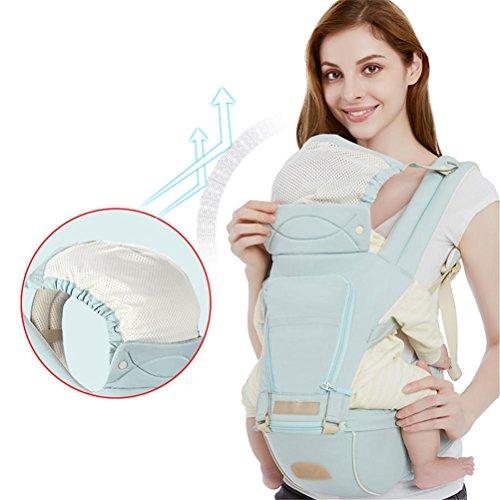Portador de Bebé Transpirable Algodón Hip Asiento Portador Variedad de diseño ergonómico Llevar las maneras con el asiento desmontable Adaptable neonatos portátiles portador de mochila multifunción , Light blue