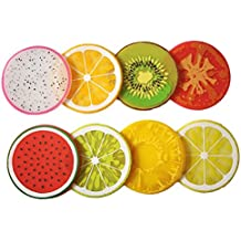 "100 Goods Silicona Fruit Slice Bebida para todo clima 2015 edition, 3.5"", Conjunto de 8 Kiwi, naranja, limón, lima, Dragón-fruta, sandía, tomate y piña"