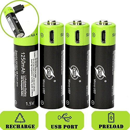 SOEKAVIA 1250mAh AA Polymerisat-LithiumAkkus Wiederaufladbare Akkus USB-Laden Akkus mit USB-Kabel (schwarz + grün)-4 Pcs