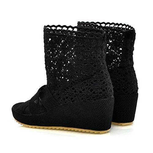 Bdawin Femmes Sandales Plateformes Bout Ouvert Cheville Botte Chaussures Noir
