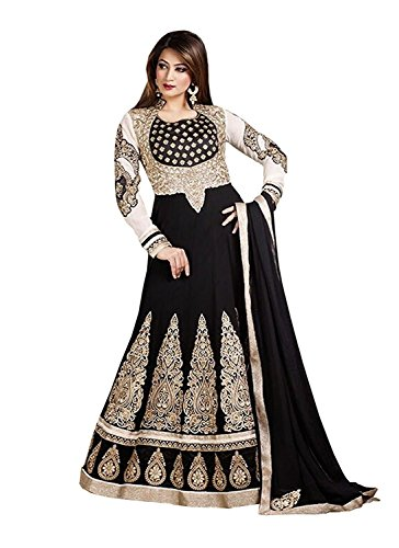Divyaemporio Womens Faux Georgette Resham Anarkali Salwar Suits Dress Material