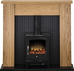 Adam New England Stove Suite in Oak with Aviemore Electric Stove in Black, 48 Inch