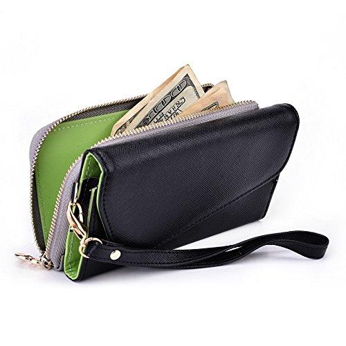 Kroo d'embrayage portefeuille avec dragonne et sangle bandoulière pour Smartphone Sony Xperia E1dual Noir/rouge Noir/gris