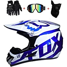 NMBE Motocross Casco Adulto MX Motocicleta Scooter Casco ATV Casco Carrera  D. O. T certificada Fox Azul 38dc5047ceb