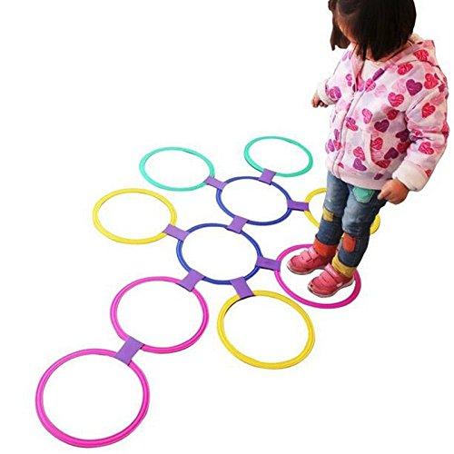 Bluelover Kids Outdoor Jumping Ring Spiele mit Freunden Vorschulunterricht Hilfe Sport Spielzeug Hopscotch Sprung Zum Grid Kinder Sensorische Integration Trainingsspiel - L