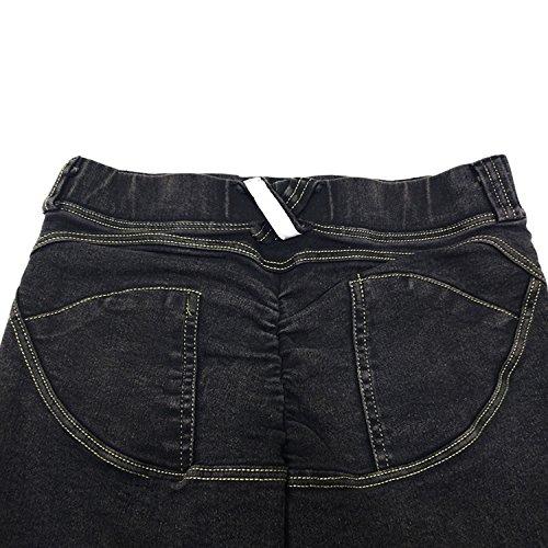 LAEMILIA Femme Leggings de Jeans Pantalon de Crayon Slim Collant Extensible Push Up Printemps Sexy Vintage Taille Haute Gris foncé