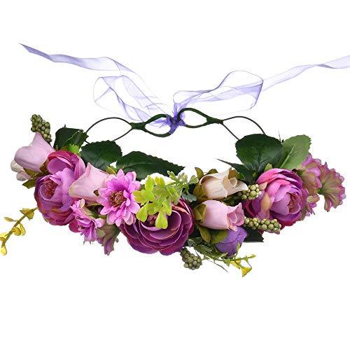 Ringe Kostüm Vintage Inspirierte - Wxelaniog-flower Elegante künstliche Blumen Simulation Rose Braut Kopf Ring Wald Blume Kopfschmuck Armband mit Clip und Haarband für Frauen (Farbe : A)