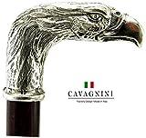 Cavagnini Gehstock, Griff in Adler-Form, Holz und solides Zinn, maßgefertigte Länge, hergestellt in Italien, Handwerkskunst
