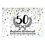 Große XXL Design Glückwunsch-Karte zum 50. Geburtstag mit Umschlag/DIN A4/Konfetti Look mit Kranz/Runder Geburtstag/Grußkarte