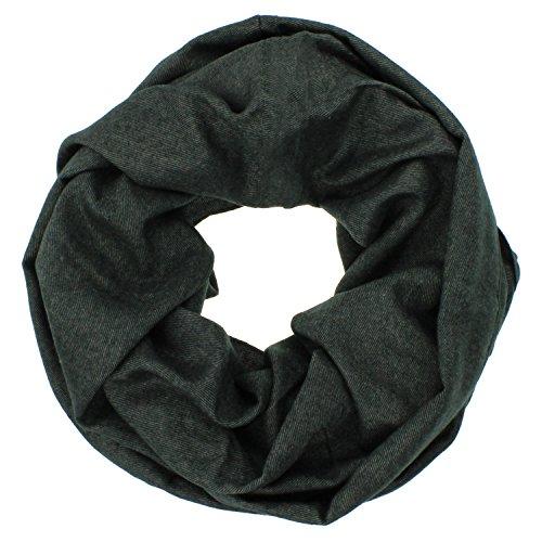 Loopschal Herren Uni Color Halstuch Modal Loop Schal schwarz grau, Grau