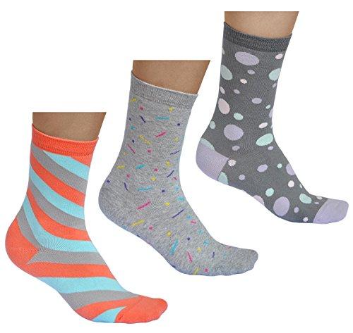 vitsocks Bunte Damen Socken (3x Pack) mit Mustera aus BAUMWOLLE, Streifen Punkte Kreise, grau und mehrfarbig, JOY, 39-42