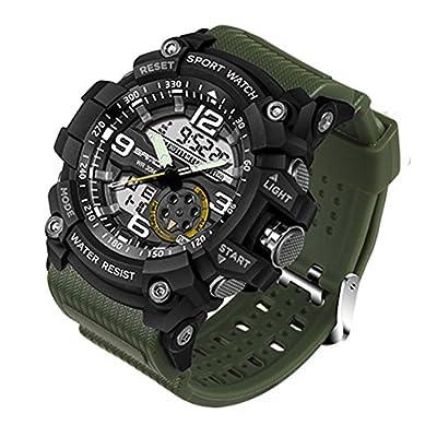 Reloj de Pulsera SANDA Hombres Reloj Impermeable Hasta 30m Militar Analógico Digital Cuarzo Deporte