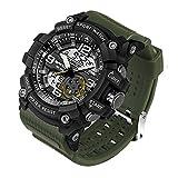 Reloj de Pulsera SANDA Hombres Reloj Impermeable Hasta 30m Militar Analógico Digital Cuarzo Deporte (Negro+Verde)
