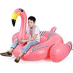 Fjiujin,Flamenco Gigante Inflable Flotante Divisible Barco de Asiento de Juguete con Bomba para Disfrutar del Feliz Momento del Agua(Color:Rosa Y Negro Y Amarillo)