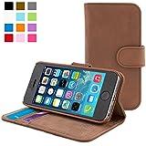 Coque iPhone 5/5s, Snugg™ - Étui à Rabat de type Flip Cover / Smart Case En Cuir Marron Avec Garantie À Vie Pour Apple iPhone 5 et iPhone 5s