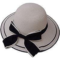 Oyfel Sombrero de Disquete Solar Visera Bowknot Sombrero de Paja Verano Viaje Cap Pamela Mujer Sombrero de ala Plegable Sombrero Arco de Paja Playa