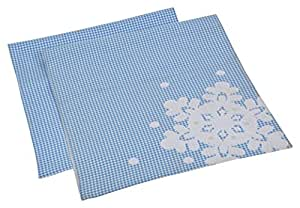 Embroidery Work On Blue Checks 100% Cotton Table Runners Set 20 x 60 Inches For your Dining Table By Home- The Best Is For You