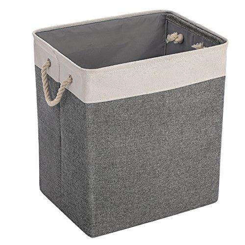 Songmics cesto per bucato cesto porta biancheria tessuto di linenette scoperto ripiegabile multifunzione cestino porta oggetti leggero portatile con manici per lavanderia grigio lcb03g