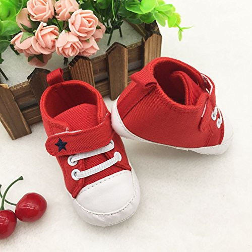 ROPALIA Baby Basic Segeltuch Turnschuh weichen Boden Prewalker Krippe Schuhe Red