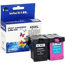 Befon 650XL - Cartucho de tinta de repuesto para HP 650 XL CZ101A CZ102A, color negro, 2 unidades, compatible con HP Deskjet 1015 1515 2515 2545 2645 3515 3545 4515 4645