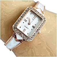 Harbour Retro Artistic Designer GoldenWhite Belt Diamond Studded Dial Women Watches & Girls Watches - WS_12