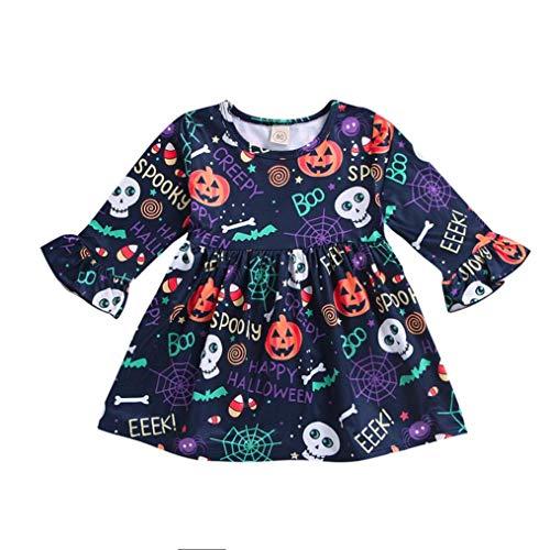 Halloween Kostüm,Halloween Kürbis Kostüm für Mädchen Baby,Karneval Party Cosplay Kostüm/ Kürbis Minikleid/ 6~24 Monat, 1~4 Jahr Alt (Multicolor, 3~4 Jahr Alt)
