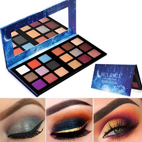 Bobopai 18 Colors Eye Shadow Plate Starry Sky Shimmer Glitter Powder Matt Eyeshadow (C) -