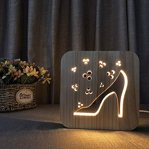 Led nachtlicht usb holz hohl high heels bilderrahmen 3d lampe kreative augenpflege kleine tischbeleuchtung kinder erwachsene schöne geschenke hause schlafzimmer dekorative spielzeug, warmweiß