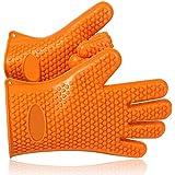 Okayji Best Versatile Heat Resistant BBQ Grill Gloves, Barbecue Mitt, Protect Your Hands, 1 Pair Orange