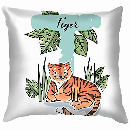 Letter T Cute Tiger Animals Wildlife ABC Education Funny Square Throw Pillow Cases Cushion Cover for Bedroom Living Room Decorative 18X18 Inch ()