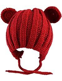 GROOMY Neonato Bambino Inverno Caldo Addensato a Coste Maglia Cappello  Crochet Carino Orso Gatto Orecchie a 6186efe75b4b