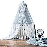 Dyna-Living Baby Kids Moskitonetz Princess Betthimmel 3 Schichten Spitze Rüschen Dome Blau