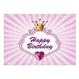 Große XXL Glückwunschkarte A4 (Happy Birthday Prinzessin Rosa Krone) mit Umschlag - Edle Design Geburtstagskarte zum Geburtstag