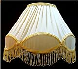 Aadhya Creations Round Cream with Golden Border with Frills Lamp Shade for Table Lamp or Floor Lamp (Size in cms: 32.4 x 31.6 x 20.6, Color: Off White; Holder Dia: 2.5 cms)